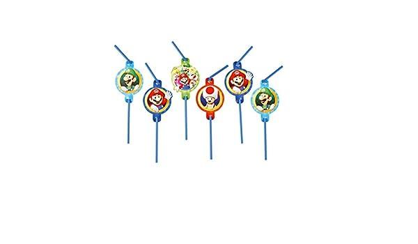 8 pajitas * Super Mario Bros. * con Repliegue para Fiesta y ...