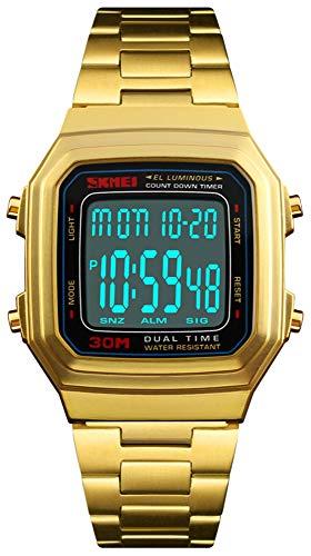 Unisex Retro Digital Watches Multifunctional Stopwatch Countdown Alarm Backlight Waterproof Watch (Black Gold) ()
