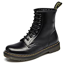 DADAWEN Unisex Men's Women's Lace Up Middle Ankle Boots with Two Choices( No Fur for Fall or Fur for Winter)