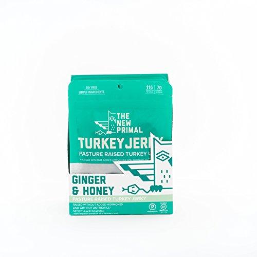 - The New Primal Ginger & Honey Turkey Jerky, Paleo, Gluten & Soy Free, 100% Free-Range, Keto, No Added Sugar, 2 Ounce, 8 Pack