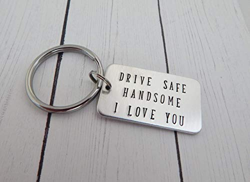 Personalized Hand Stamped Keychain Initial Keychain Boyfriend Gift Valentines Day Gift for Girlfriend Anniversary Custom Drive safe