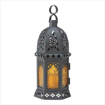 Gifts & Decor Yellow Black Moroccan Lantern Light Glass Centerpiece (Morroccan Lanterns)