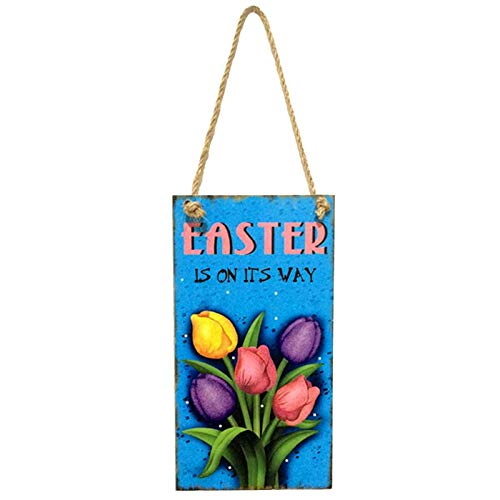 (Party DIY Decorations - Hanging Board Wall Art Home Decor Happy Easter Greetings Plaque Rabbit Flower Chick Party Festival - Wood Letter Bunni Rabbit Craft Home Easter Letter Egg Decorations Ea)