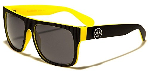 Black Yellow Biohazard Ribbed Face Vintage Shades Men'S Fashion - Sunglasses Independent Italian