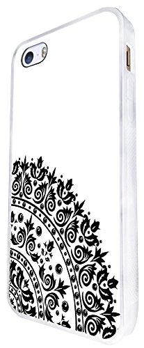 1138 - Cute Fun Cool Henna Aztec Fashion Mendi Indian Art Design iphone SE - 2016 Coque Fashion Trend Case Coque Protection Cover plastique et métal - Blanc