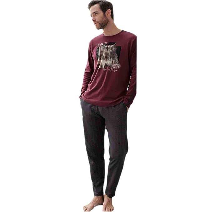 MASSANA Pijama de Hombre Estampado P681335 - Berenjena, L
