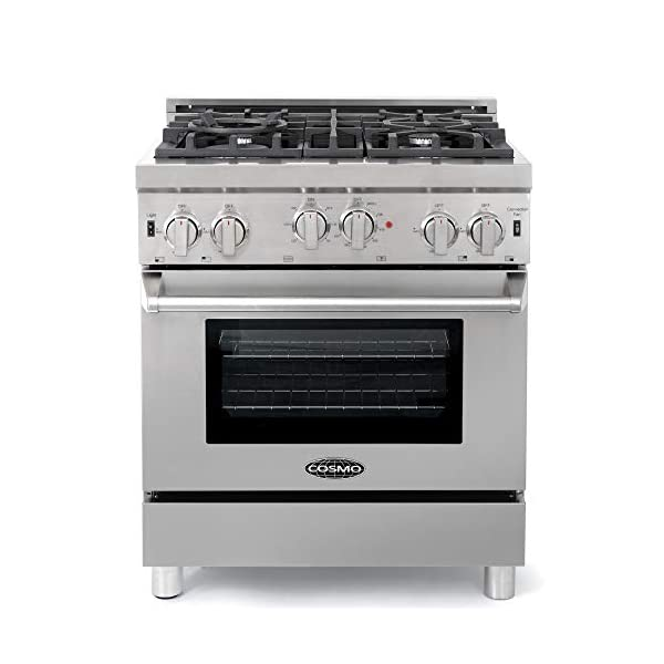 Cosmo GRP304 30 in. Freestanding/Slide-in Gas Range with 4 Sealed Burner Rangetop, Rapid Convection Single Oven, Heavy… 1