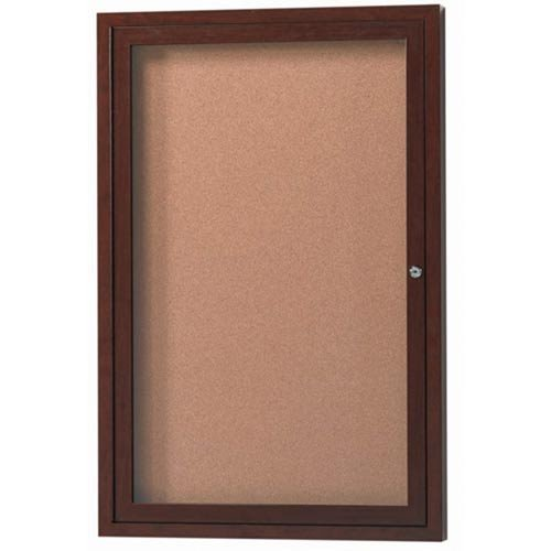 Aluminum Wall Mounted Enclosed Bulletin Board Frame Color: Walnut Wood, Number of Doors: One, Size: 36
