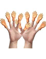 Yolococa Kleine Handen 10 Stuks Kleine Vinger Puppets Mini Miniatuur Vingerhanden met Linkerhanden en Rechterhanden voor Game Party Grappige trucs
