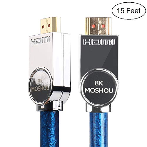 SIKAI 8K Ultra High Speed Cable 4K@60HZ 8K@120Hz 48Gbps 4320P UHD HDR High-Definition Multimedia Interface Cord Compatible with LG OLED TV, Samsung QLED TV, Apple TV, VIZIO TV, Roku (15 Feet, Blue)