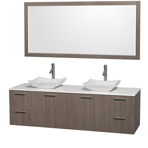 Made Stone Man (Wyndham Collection Amare 72 inch Double Bathroom Vanity in Grey Oak with White Man-Made Stone Top with Carrera Marble Sinks, and 70 inch Mirror)