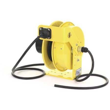 (KH Industries RTF Series ReelTuff Industrial Grade Retractable Power Cord Reel, 12/3 SOOW Cable, 20 Amp, 30' Length, Yellow Powder Coat Finish)