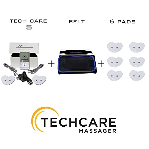 TechCare S Tens Massager FDA Cleared 510K Unit Electric Massager Set With 6 Extra Pads + Fat Burner Belt tens unit for Knee Pain Lower Back Lumbar pain, Arthritis, Bursitis, Tendonitis Sciatica