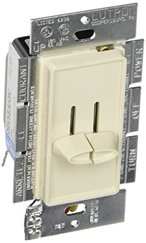 Dual Pole (Lutron S2-L-LA Skylark 300-Watt Single Pole Dual Slide-To-Off Dimmer, Light Almond)