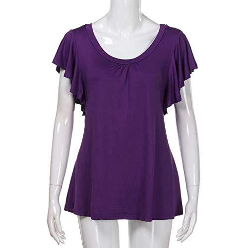 O Festa Style Donna Camicetta Pullover Camicia Emmay Tinta Unita Ragazze T Corta Lila Top Manica Tops Shirt Neck 0x7ngOq5IO