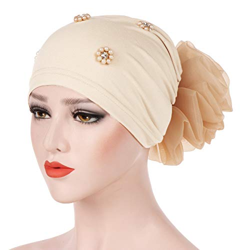 Sacow Women Solid Color Beading India Floral Hat, Muslim Ruffle Cancer Chemo Scarf Turban Wrap Cap - Beading Floral