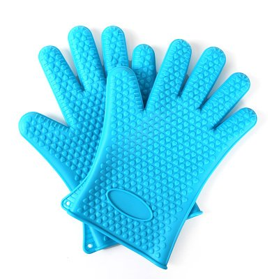 Heat Resistant Silicone BBQ Gloves - Best Protective Insulat