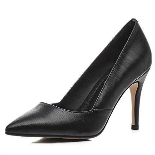 Tyylikäs Teräväkärkiset Kengät Musta Piikkikorko Korkeakorkoisia Varvas Nahkaa Aitoa Seitsemän Naisten Yhdeksän Käsintehtyjä Pumput IqPxC188w