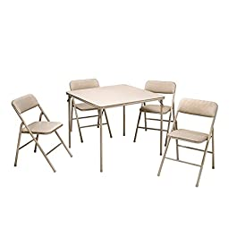COSCO 5-Piece Folding Table and Chair Set, Tan