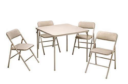 - COSCO 5-Piece Folding Table and Chair Set, Tan