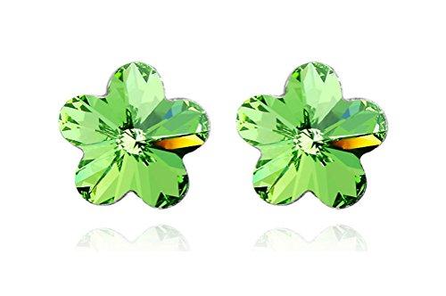 Jazlyn White Gold Plated Sparkling Romantic Sakura Cherry Blossom Flower Australia Crystal Stud Earrings for Women Girls Party Ball Wedding (Green Crystal)