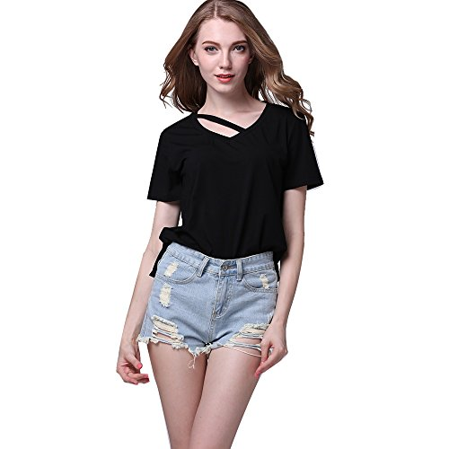mz-casual-sexy-cut-out-loose-v-neck-short-sleeve-soft-cotton-shirt-for-women