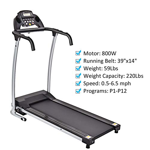 Goplus 800W Folding Treadmill Electric Motorized Power Fitness Running Machine with LED Display and Mobile Phone Holder Perfect for Home Use (Black) by Goplus (Image #5)
