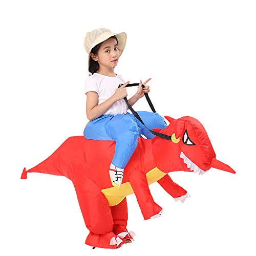 Decalare Dinosaur/Unicorn/Sumo/Bull Inflatable Costume Suit Halloween Cosplay Fantasy Costumes Kids (Kids-Red Dinosaur) ()