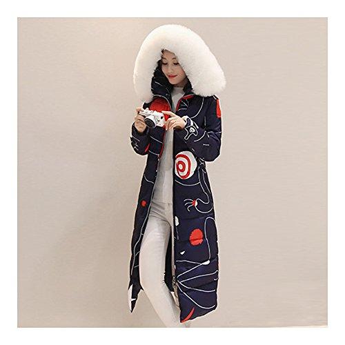 Blouson de duvet d'hiver de femme simple et plein des dessins abstraits avec un chapeau qui a une bande latérale piolue bleu marine