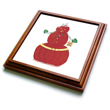 3dRose CherylsArt Holidays Halloween - Painting of a Pumpkin Person with Halloween Trick or Treat Bag - 8x8 Trivet with 6x6 ceramic tile (trv_311430_1)