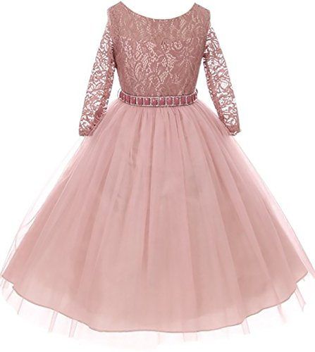 - Little Girls Dress Lace Top Rhinestones Tulle Holiday Christmas Party Flower Girl Dress Mauve Size 6 (M37BK2)