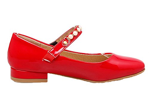Amoonyfashion Dames Stevige Pu Lage Hakken Ronde-teen Klittenband Pumps-schoenen Rood