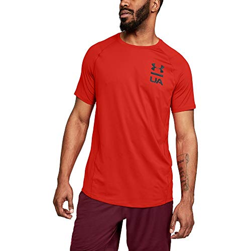 Under Armour Men's MK1 Short sleeve Logo Graphic, Radio Red (890)/Black, XX-Large