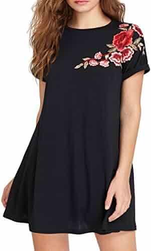 d75acf4c55ba Romwe Women's Short Sleeve Loose Casual Tunic Swing T-Shirt Dress Floral  Patch