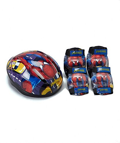 Spider Man Child Helmet (Spiderman Child Helmet and Pads Safety Combo Pack - Helmet, Elbow Pads, Knee Pads)
