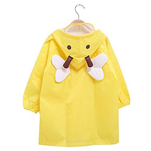 Hugmii Waterproof Outdoor Bee Shaped Rain Jacket for Kids Boys Girls (Yellow, ()