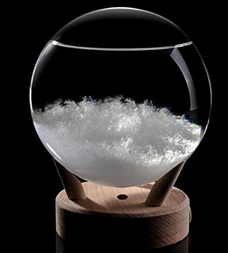 Storm Glass Barometer Sphere Shape LED Weather Monitor