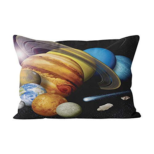 Wermi Cute NASA Jpl Solar System Planets Montage Space Hidden Zipper Home Decorative Rectangle Throw Pillow Cover Cushion Case Inch 20x26 Standard One Side Design Printed Pillowcase by Wermi