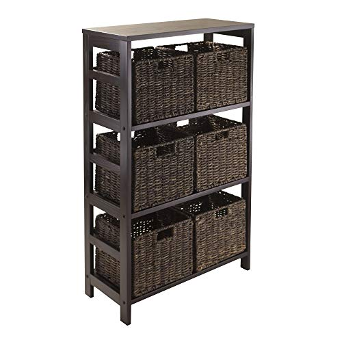 Winsome Granville 7-Piece Storage Shelf with 6-Foldable Baskets, Espresso