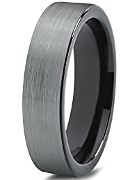 Tungsten Wedding Band Ring 4mm for Men Women Comfort Fit Black Enamel Pipe Cut Brushed Lifetime Guarantee