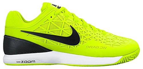 Nike Zoom Bur 2 Mens Tennis Tränare 705247 Gymnastikskor Volt / Svart / Vit