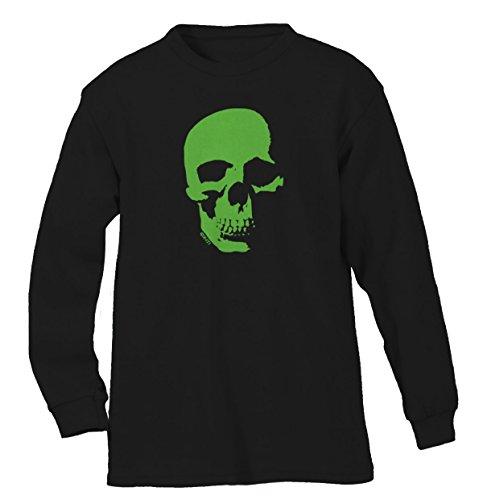 Neon Green Skull Men's Long Sleeve Shirt, SpiritForged Apparel, Black Medium (Spirit Halloween Sf)