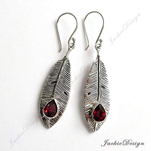 (Red Garnet Sterling Silver Feather Drop Earrings JD120)