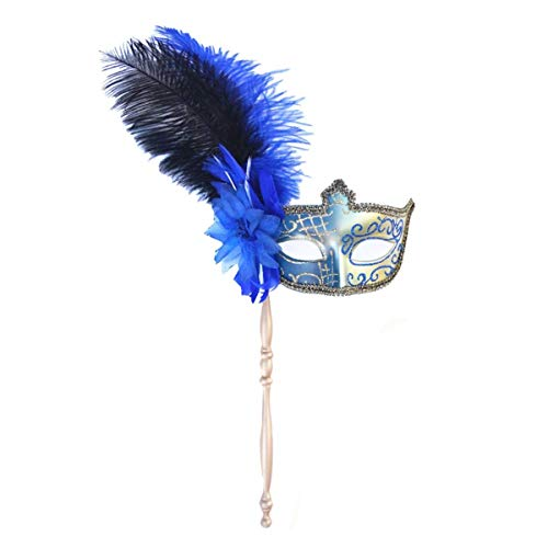 Couple Mask for Women and Men Masquerade Carnival Mardi Gras Costume on Stick Halloween Party Mask with Feather Flower and Gift(Blue+Handle) -
