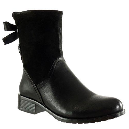 satinado Angkorly Bloque Tacón Botines tachonado Botín 5 3 alto Cavalier de moda Zapatos bi Material para Negro cm mujer Encaje Suave F7WqI