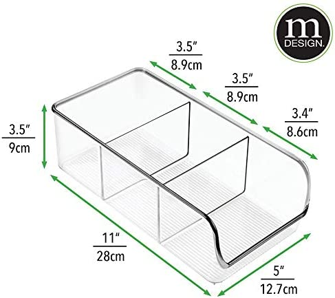 41BN7zLihrL. AC mDesign Plastic Food Packet Kitchen Storage Organizer Bin Caddy - Holds Spice Pouches, Dressing Mixes, Hot Chocolate, Tea, Sugar Packets in Pantry, Cabinets or Countertop - 2 Pack - Clear    From the brand