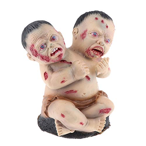 (Fenteer Scary Double Head Baby Doll Zombie Halloween Haunted House Decor Tricky Prank Toy Novelty Gag)
