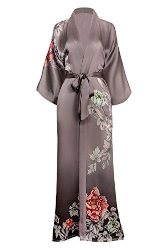 KIM+ONO Women's Silk Kimono Robe Long - Floral Print, Botan- Grey