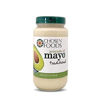 Chosen Foods Avocado Oil Traditional Mayo 24 oz, Non-GMO, 100% Pure, Gluten Free, Dairy Free for Sandwiches, Dressings and Sauces