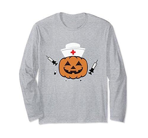 Unisex Halloween Nurse Shirt Scary Pumpkin Hospital Night Party XL: Heather Grey -